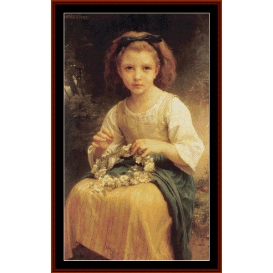 child braiding a crown - bougeureau cross stitch pattern by cross stitch collectibles