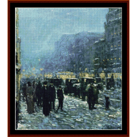 broadway & 42nd st - childe-hassam cross stitch pattern by cross stitch collectibles