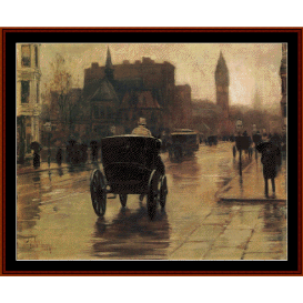 columbus avenue, rainy day - childe-hassam cross stitch pattern by cross stitch collectibles