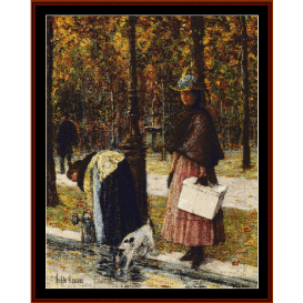 evening champs-elysees - childe-hassam cross stitch pattern by cross stitch collectibles