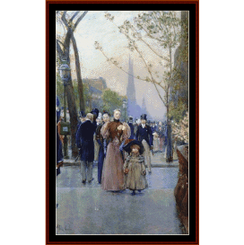 sunday oon fifth avenue - childe-hassam cross stitch pattern by cross stitch collectibles