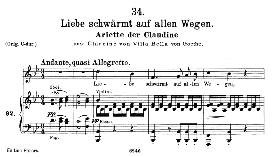 "claudine d.239-6 ""liebe schwärmt auf allen wegen"", medium voice in b flat major, f. schubert, c.f. peters"
