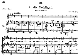 an die nachtigall d.497, medium voice in e major, f. schubert, c.f. peters