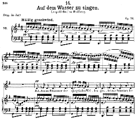 auf dem wasser zu singen d.774, medium voice in g major, f. schubert, c.f. peters