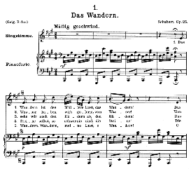 Das Wandern, D.795-1, Medium Voice in A Major, F. Schubert (Die Schöne Mullerin), C.F. Peters | eBooks | Sheet Music