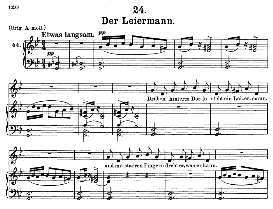 der leiermann d.911-24, medium voice in g minor, f. schubert (winterreise), c.f. peters