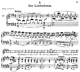 der lindenbaum d.911-5, medium voice in e major, f. schubert (winterreise), c.f. peters