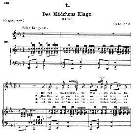 Des Mädchens Klage D.191, Medium Voice in C Minor, F. Schubert, C.F. Peters | eBooks | Sheet Music