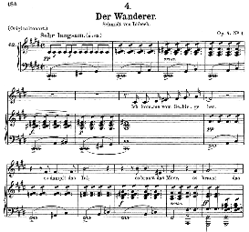 der wanderer d.493, medium voice in c sharp minor. f. schubert, c.f. peters