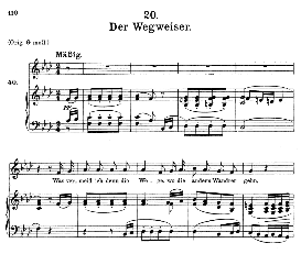 der wegweiser d.911-20 in f minor, medium voice. f. schubert (winterreise)., c.f. peters