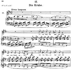 die krähe d.911-15, medium voice in b minor, f. schubert (winterreise), c.f. peters