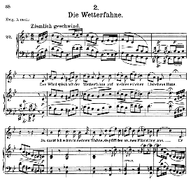die wetterfahne d.911-2, medium voice in g minor, f. schubert (winterreise), c.f. peters