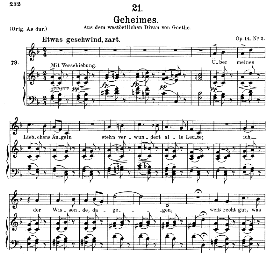 geheimes d.719, medium voice in f major, f. schubert, c.f. peters