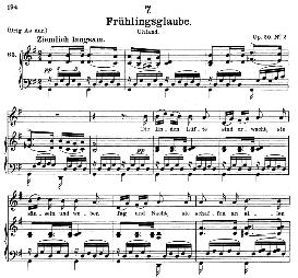 frühlingsglaube d.686, medium voice in g major, f. schubert, c.f. peters