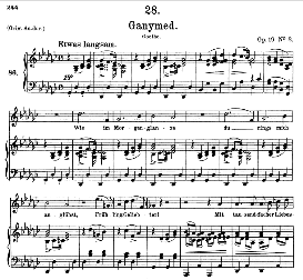 ganymed d.544, medium voice in g flat major, f. schubert, c.f. peters