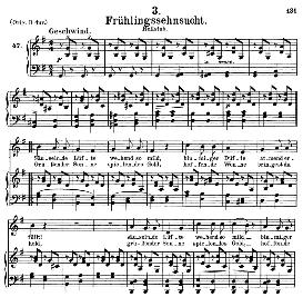 frühlingssehnsucht  d.957-3, medium voice in g major, f. schubert (schwanengesang), c.f. peters