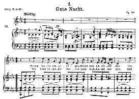 gute nacht d.911-1, medium voice in c minor, f. schubert (winterreise), c.f. peters