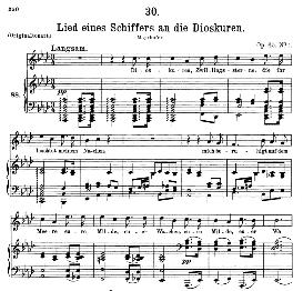lied eines schiffers an die dioskuren d.360, medium voice in a flat major, f. schubert, c.f. peters
