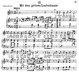Mit dem grünen lautenbande D.795-13, Medium Voice in A Flat Major, F. Schubert (Die Schöne Mullerin) C.F. Peters | eBooks | Sheet Music