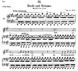 nacht und träume d.827, medium voice in a major, f. schubert, c.f. peters