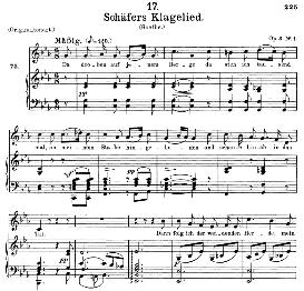 schäfers klagelied d.121, medium voice in c minor, f. schubert, c.f. peters