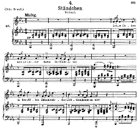 stândchen, d.957-4, leise flehen meine lieder, medium voice in c minor, f. schubert (schwanengesang). c.f. peters