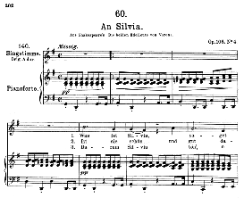 an silvia d.891, medium voice in g major, f. schubert, c.f. peters