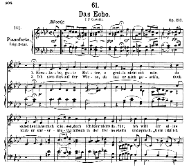 das echo d.990, medium voice in a flat major, f. schubert, c.f. peters