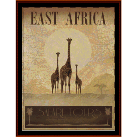 east africa - vintage poster cross stitch pattern by cross stitch collectibles