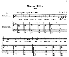 meeres stille d.216, medium voice in c major, f. schubert, c.f. peters