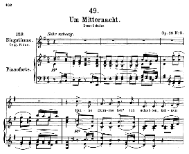 um mitternacht d.862, medium voice in g major, f. schubert, c.f. peters