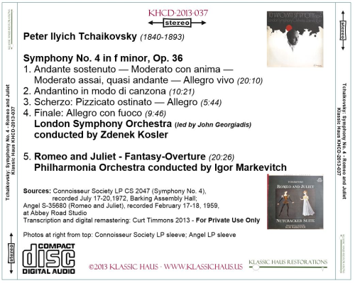 First Additional product image for - Tchaikovsky: Sym. No. 4/Romeo & Juliet - LSO/Kosler - PO/Markevitch