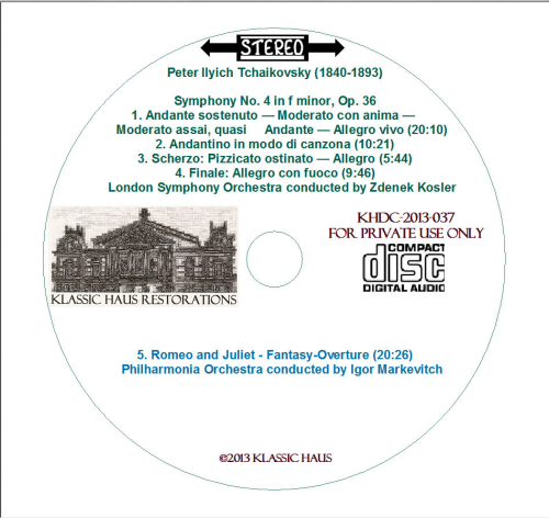 Second Additional product image for - Tchaikovsky: Sym. No. 4/Romeo & Juliet - LSO/Kosler - PO/Markevitch