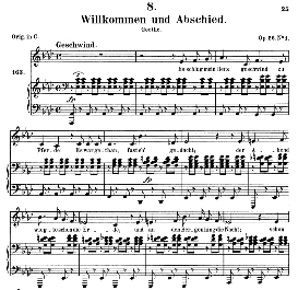willkomen und abschied d.767, medium voice in a flat major, f. schubert (pet.)