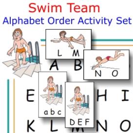 swim team alphabet order activity set