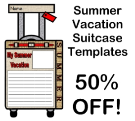 50% off summer vacation suitcase templates