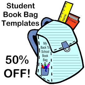 50% off student book bag templates