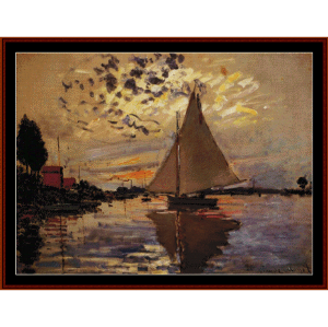sailboat at le petit-gennevilliers - monet cross stitch pattern by cross stitch collectibles