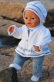 dollknittingpatterns - model 0098d ingelin - jacket, pants, blouse, bonnet and shoes