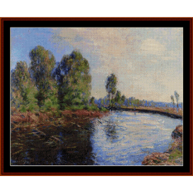 banks of the loing, 1896 - sisley cross stitch pattern by cross stitch collectibles
