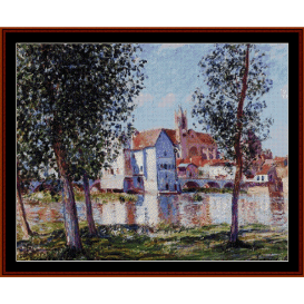 moret sur loing, 1888 - sisley cross stitch pattern by cross stitch collectibles