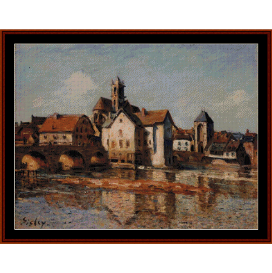 the moret bridge - sisley cross stitch pattern by cross stitch collectibles