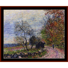 along the woods in autumn - sisley cross stitch pattern by cross stitch collectibles