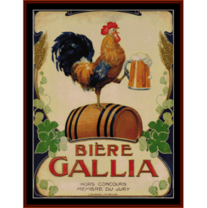 biere gallia - vintage poster cross stitch pattern by cross stitch collectibles