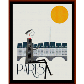 paris - vintage poster cross stitch pattern by cross stitch collectibles