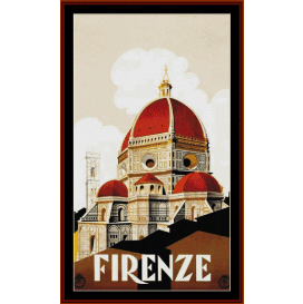 firenze - vintage poster cross stitch pattern by cross stitch collectibles