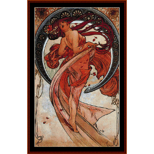 dance 1898 - mucha cross stitch pattern by cross stitch collectibles
