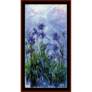 lilac irises - monet cross stitch pattern by cross stitch collectibles