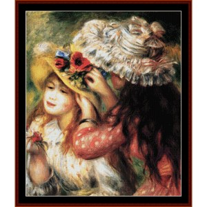 girls putting flowers in hats - renoir cross stitch pattern by cross stitch collectibles