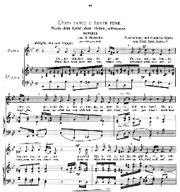 dopo tante e tante pene (cantata). medium voice in g minor, b.marcello.  caecilia, ed. andré (1900) vol. ii, 906-e. pd
